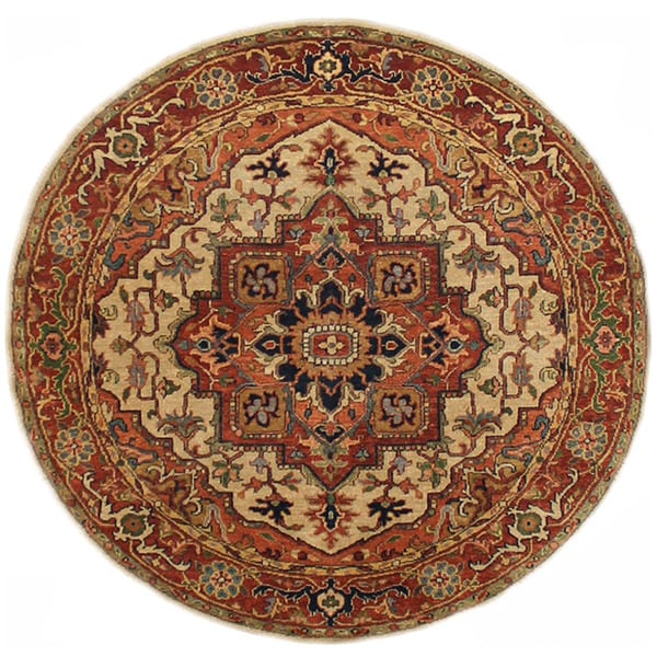 Fine Round Persian Bidjar Area Rug Hand Knotted Wool And: Shop Herat Oriental Indo Hand-knotted Serapi Wool Round