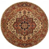 Handmade Herat Oriental Indo Serapi Wool Round Rug (India) - 7'11 x 7'11