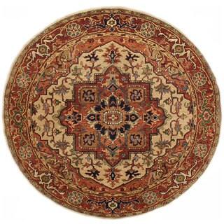 Herat Oriental Indo Hand-knotted Serapi Wool Round Rug (7'11 x 7'11) - 7'11 x 7'11