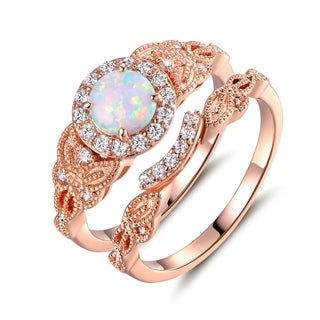 Gold Plated White Fire Opal & Cubic Zirconia Engagement Ring (More options available)