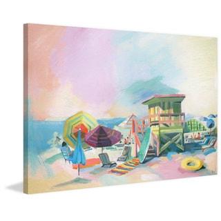 'Beach at Dusk' Painting Print on Wrapped Canvas