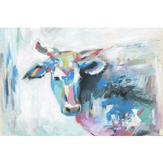 'Pastel Cow' Painting Print on Wrapped Canvas