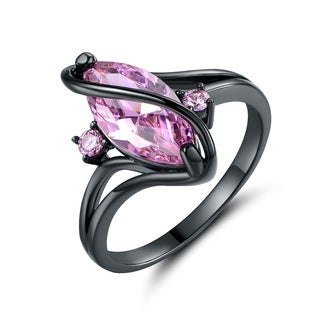 Black Rhodium Plated Pink Cubic Zirconia Ring
