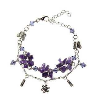 Handmade Tibetan Silver Amethyst Flower Bracelet (China)