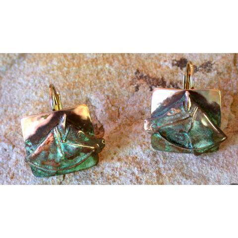Handmade Olive Patina Horsehead Earrings by Elaine Coyne (USA)