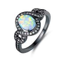 Black Rhodium Plated Fire Opal Oval Statement Ring