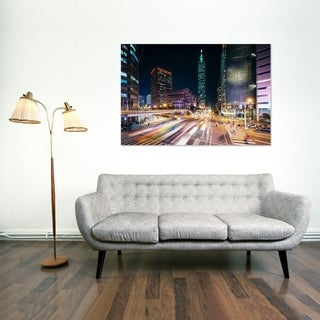 Noir Gallery Xinya Road and Taipei 101 at Night in Tapei, Taiwan Mounted Fine Art Photo Print.