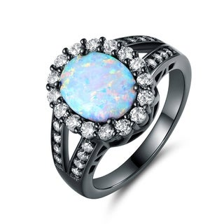 Black Rhodium Plated White Fire Opal Flower Ring