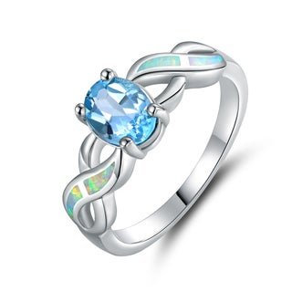 Gold Plated Blue Topaz & Opal Ring