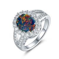 Gold Plated Black Opal & Cubic Zirconia Flower Ring