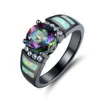 Black Rhodium Plated Rainbow Quartz Fire Opal Ring