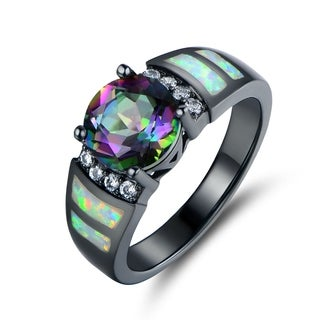 Black Rhodium Plated Topaz & Fire Opal Ring
