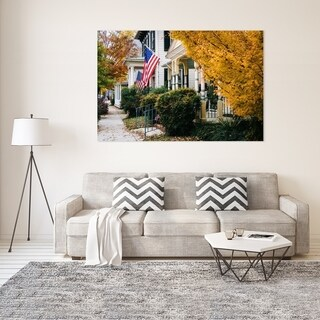 Noir Gallery Fall Color and House with American Flag in Easton, Maryland Mounted Fine Art Photo Print. (4 options available)