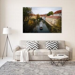 Noir Gallery Fall Color Along a Canal in Prague, Czech Republic Mounted Fine Art Photo Print.