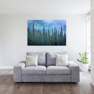Noir Gallery Pine Trees in Fog, Olympic National Park, Washington Mounted Fine Art Photo Print.