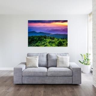 Noir Gallery Colorful Blue Ridge Parkway Mountain Sunset in North Carolina Mounted Fine Art Photo Print.