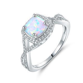 Gold Plated White Fire Opal Ring