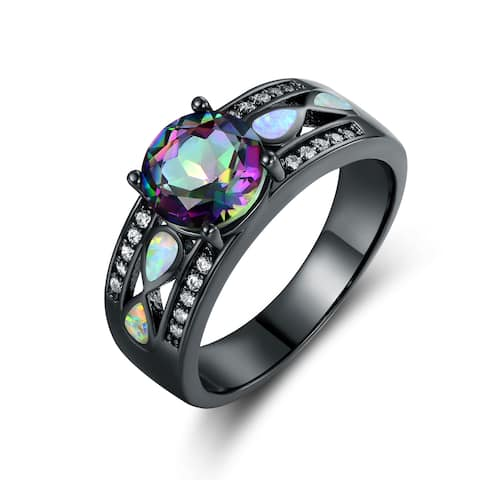 Rhodium Plated Rainbow Quartz Fire Opal Ring