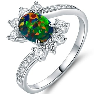 Gold Plated Black Fire Opal & Cubic Zirconia Engagement Ring