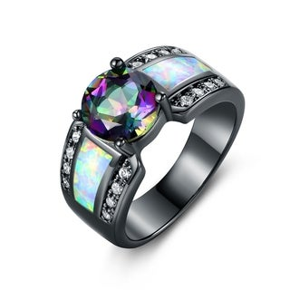 Black Rhodium Plated Round-cut Topaz & White Fire Opal Engagement Ring
