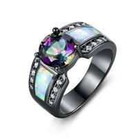 Black Rhodium Plated Rainbow Quartz White Fire Opal Ring