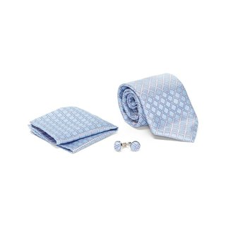 Men's Tie with Matching Handkerchief and Hand Cufflinks-Grey Square Dotted