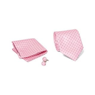 Men's Tie with Matching Handkerchief and Hand Cufflinks-Black and White Dotted on Pink