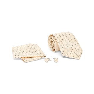 Men's Tie with Matching Handkerchief and Hand Cufflinks-Black and Brown Dotted on Golden