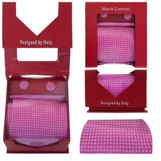 Men's Tie with Matching Handkerchief and Hand Cufflinks-White dotted on Pink Silk