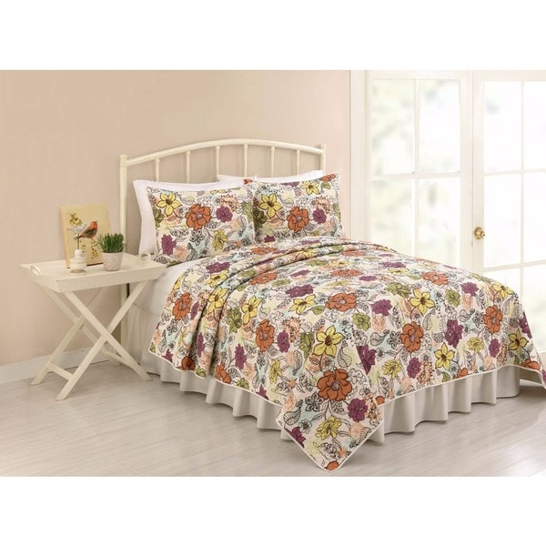 Modern Heirloom Ginger Full/Queen Cotton 3-Piece Quilt Set