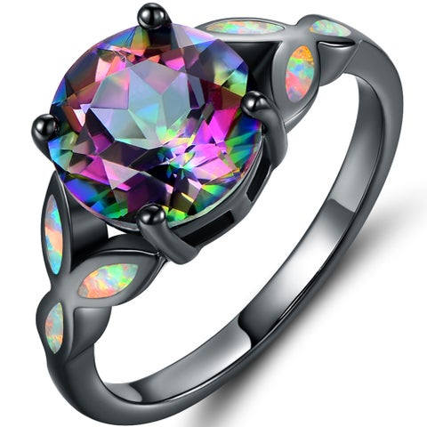 Black Rhodium Plated Rainbow Quartz Fire Opal Ring