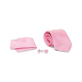 Men's Tie with Matching Handkerchief and Hand Cufflinks-Dark pink cross stitch