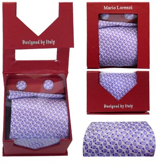 Men's Tie with Matching Handkerchief and Hand Cufflinks-Light & Dark Purple Patterned