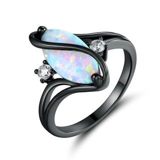 Black Rhodium Plated White Fire Opal & Cubic Zirconia Accents Ring