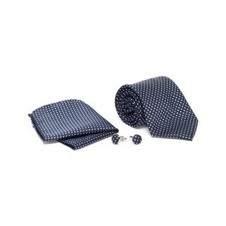 Men's Tie with Matching Handkerchief and Hand Cufflinks-Silver Patterned on Black