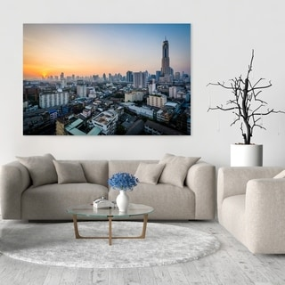Noir Gallery Sunrise View Over Bangkok, Thailand Photo Print on Metal.