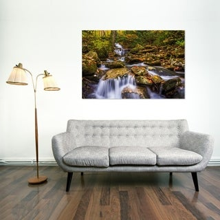 Noir Gallery Waterfall and Fall Color on the Blue Ridge Parkway, North Carolina Photo Print on Metal.