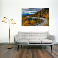 Noir Gallery Fall Color at Linn Cove Viaduct on the Blue Ridge Parkway in North Carolina Photo Print on Metal.