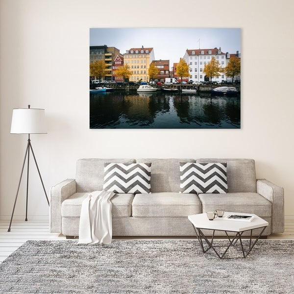 Noir Gallery Fall Color at the Christianshavn Canal in Copenhagen, Denmark Photo Print on Metal.