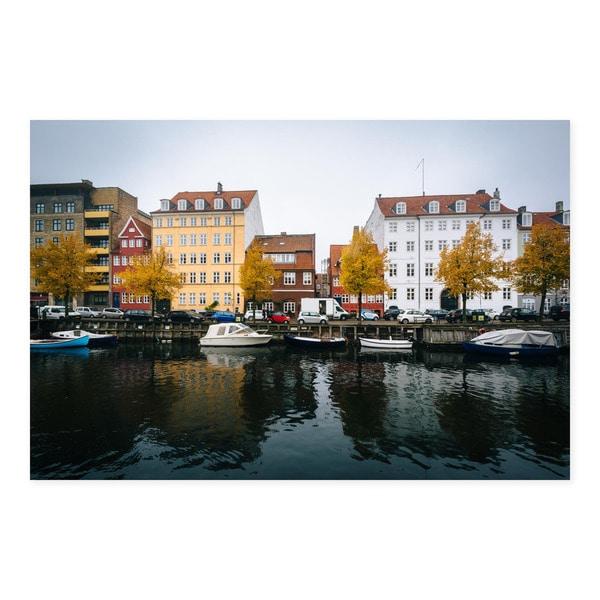 Noir Gallery Fall Color at the Christianshavn Canal in Copenhagen, Denmark Photo Print on Metal.