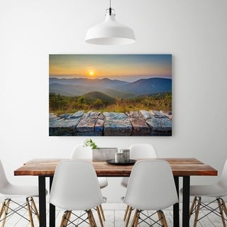 Noir Gallery Blue Ridge Mountains Sunset in Shenandoah National Park, Virginia Photo Print on Metal.
