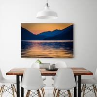 Noir Gallery Sunset Over Lake and Mountains in Olympic National Park, Washington Photo Print on Metal.