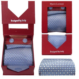 Men's Tie with Matching Handkerchief and Hand Cufflinks-White & blue semi satin