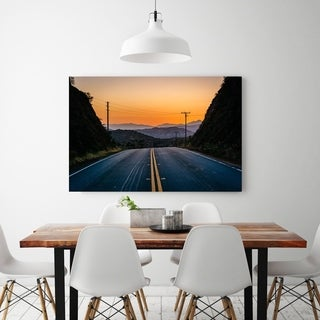 Noir Gallery Sunset Over Road and Mountains in the Desert of Agua Dulce, California Photo Print on Metal.