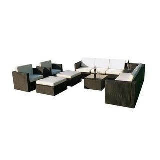 MCombo 13pc Black Wicker Patio Sectional Outdoor Sofa Furniture set