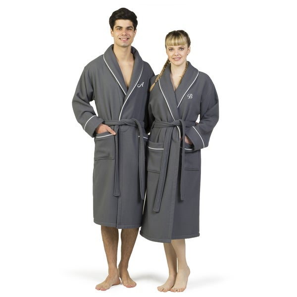 Authentic Hotel and Spa Dark Grey Unisex Turkish Cotton Waffle Weave Terry  Bath Robe with White 984a0b736