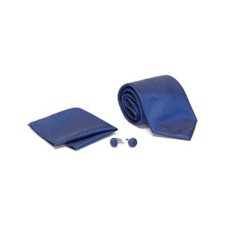 Men's Tie with Matching Handkerchief and Hand Cufflinks-White Dotted Navy Blue