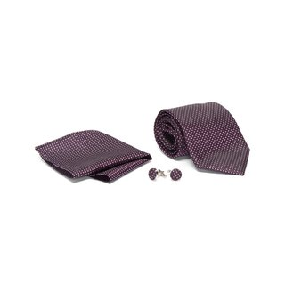 Men's Tie with Matching Handkerchief and Hand Cufflinks-Deep Fuchsia Patterned
