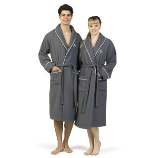 Authentic Hotel and Spa Dark Grey Unisex Turkish Cotton Waffle Weave Terry Bath Robe with White Block Monogram