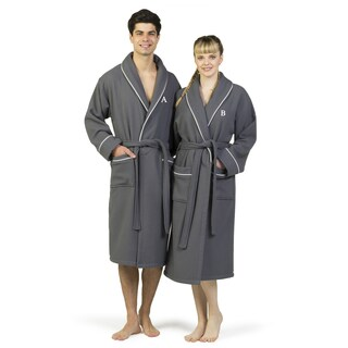 Authentic Hotel and Spa Dark Grey Unisex Turkish Cotton Waffle Weave Terry Bath Robe with White Block Monogram